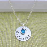Silver Personalised Godmother Goddaughter, Birthstone Charm Necklace
