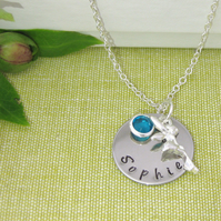 Children's Silver Personalised Name, Birthstone, Fairy Charm Necklace