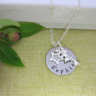Children's Silver Personalised Name, Fairy and Star Charm Necklace