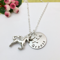 Silver Personalised Name, Star, Unicorn Charm Necklace