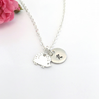 Personalised Silver Hedgehog Necklace with Initial