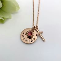 Rose Gold Personalised Name, Birthstone, Cross Charm Necklace