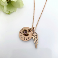 Rose Gold Personalised Name, Birthstone, Angel Wing Charm Necklace