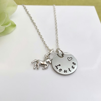 Silver Personalised Name and Unicorn Charm Necklace