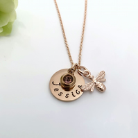 Rose Gold Personalised Name, Birthstone, Bee Charm Necklace