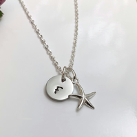Personalised Silver Starfish Necklace with Initial