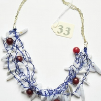 Blue Lace Agate and Red Quartzite Necklace