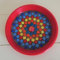 Mini Mosaic Birdbath, ideal for a window box, balcony or garden.