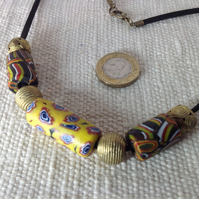Surfer's bead necklace with chunky beads from Ghana and the Himalayas