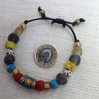 Adjustable bead bracelet with rare antique trade beads and new African beads