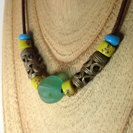 Unisex mixed bead necklace with beads from around the world