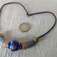Surfer bead necklace with old and new beads from Africa and Nepal