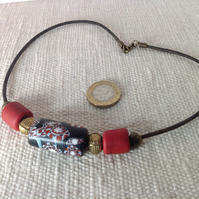 Unisex  beaded necklace with African and Nepalese beads