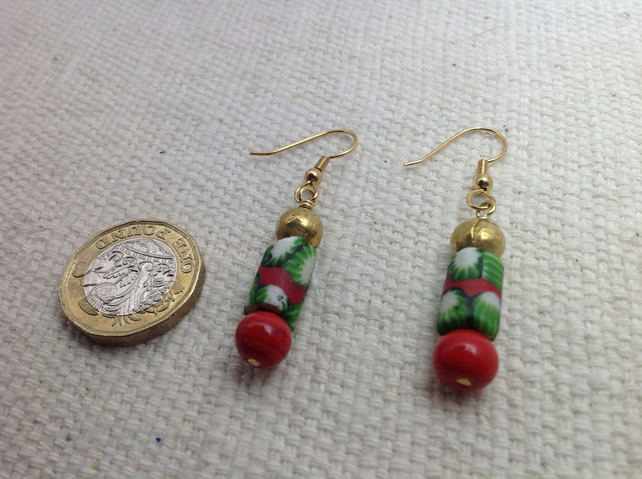 Rare antique trade bead earrings