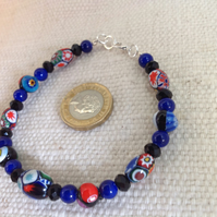 "Elegant 8"" beaded bracelet of vintage millefiori and French jet beads"