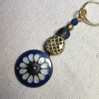 Key ring with vintage flower pendant and brass bead from Ghana