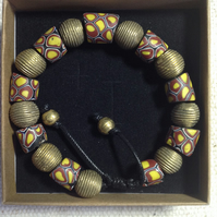 Chunky bead bracelet with antique African trade beads and new Ghana brass beads