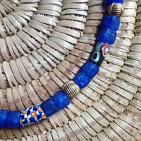 Antique trade bead necklace with blue Indian and brass African beads