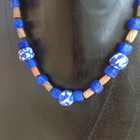 Blue beaded necklace with chunky African glass and handmade clay beads
