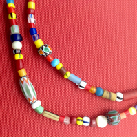 African mix necklace with small multicoloured beads