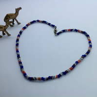 Unisex glass bead necklace with vintage African recycled glass and lapis lazuli