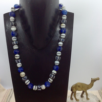 Necklace with recycled glass and vintage beads from the Himalayas and Africa
