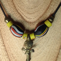 African surfer necklace on cord with fertility pendant and giant Nepalese beads,