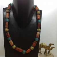 Chunky bead necklace with African agate, glass and brass beads
