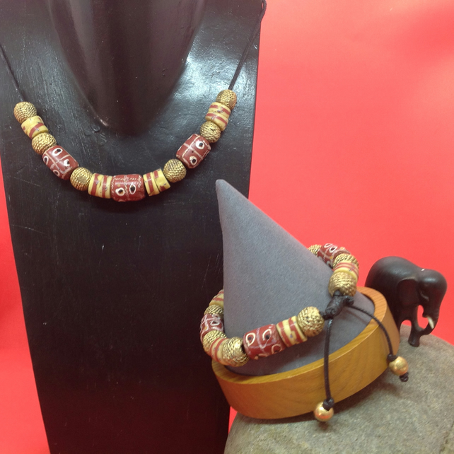 Matching set of chunky African beads in necklace and bracelet of a larger size