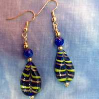 Blue beaded earrings with lapis lazuli and vintage Venetian glass beads