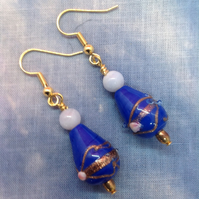 Blue glass beaded earrings with small pearly white agate beads