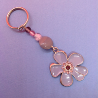 Key ring with vintage lilac flower pendant and glass beads
