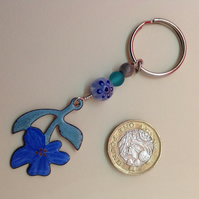 Keyring with vintage painted flower