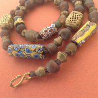 Beaded necklace with genuine old African trade beads, new brass and glass beads