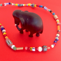 African bead mix necklace with small multicoloured beads