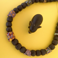 African bead necklace with old and new beads, some very rare.