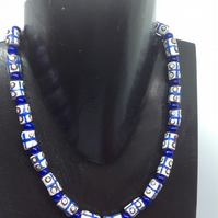 Blue and white African recycled bottle beads necklace