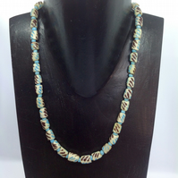 African recycled glass bead necklace in turquoise, off white and brown