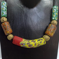 unisex necklace with chunky Himalayan and African beads on a cord