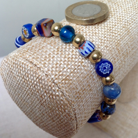 Bead collectors bracelet, blue and gold