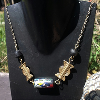 "19"" necklace with giant centre bead, brass and glass beads from Ghana on a chain"