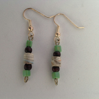 Paper bead earrings handmade in Shropshire