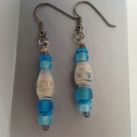Paper bead earrings, made in Shropshire