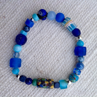 Turquoise and blue bracelet with interesting collection of unusual vintage beads