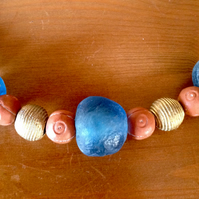 "20"" chunky bead necklace with clay, recycled glass and brass beads from Africa"