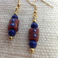 Dark red and blue earrings with modern African glass trade beads