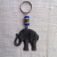 Key ring with vintage elephant and African glass bead