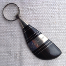 Key ring with Tuareg ebony and silver amulet from the Sahara Desert