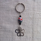 Keyring with vintage handmade African butterfly and millefiori bead