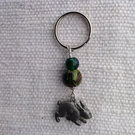 Keyring with a little pewter hare and two glass beads